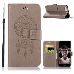 Intricate Embossing Owl Campanula Leather Wallet Case for Huawei Honor View 10 (V10) - Grey