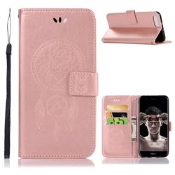 Intricate Embossing Owl Campanula Leather Wallet Case for Huawei Honor View 10 (V10) - Rose Gold