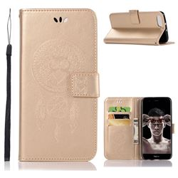 Intricate Embossing Owl Campanula Leather Wallet Case for Huawei Honor View 10 (V10) - Champagne