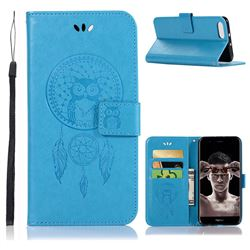 Intricate Embossing Owl Campanula Leather Wallet Case for Huawei Honor View 10 (V10) - Blue