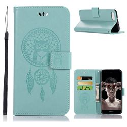 Intricate Embossing Owl Campanula Leather Wallet Case for Huawei Honor View 10 (V10) - Green