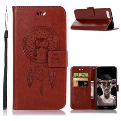 Intricate Embossing Owl Campanula Leather Wallet Case for Huawei Honor View 10 (V10) - Brown