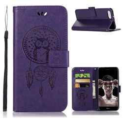 Intricate Embossing Owl Campanula Leather Wallet Case for Huawei Honor View 10 (V10) - Purple