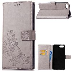 Embossing Imprint Four-Leaf Clover Leather Wallet Case for Huawei Honor View 10 (V10) - Grey