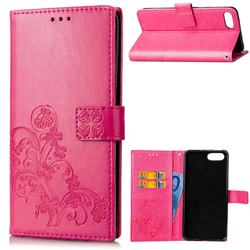 Embossing Imprint Four-Leaf Clover Leather Wallet Case for Huawei Honor View 10 (V10) - Rose