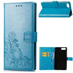 Embossing Imprint Four-Leaf Clover Leather Wallet Case for Huawei Honor View 10 (V10) - Blue
