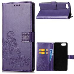 Embossing Imprint Four-Leaf Clover Leather Wallet Case for Huawei Honor View 10 (V10) - Purple