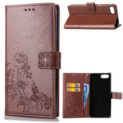 Embossing Imprint Four-Leaf Clover Leather Wallet Case for Huawei Honor View 10 (V10) - Brown