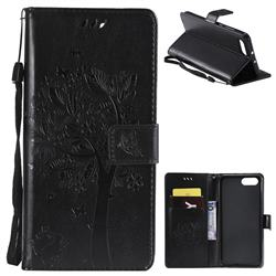 Embossing Butterfly Tree Leather Wallet Case for Huawei Honor View 10 (V10) - Black