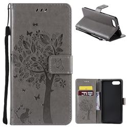 Embossing Butterfly Tree Leather Wallet Case for Huawei Honor View 10 (V10) - Grey