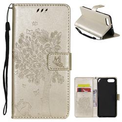 Embossing Butterfly Tree Leather Wallet Case for Huawei Honor View 10 (V10) - Champagne