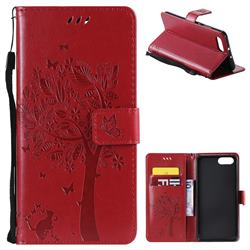 Embossing Butterfly Tree Leather Wallet Case for Huawei Honor View 10 (V10) - Red