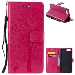 Embossing Butterfly Tree Leather Wallet Case for Huawei Honor View 10 (V10) - Rose