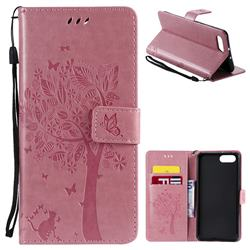 Embossing Butterfly Tree Leather Wallet Case for Huawei Honor View 10 (V10) - Pink
