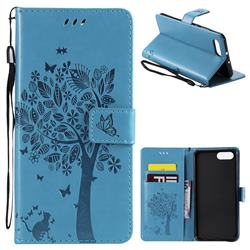 Embossing Butterfly Tree Leather Wallet Case for Huawei Honor View 10 (V10) - Blue