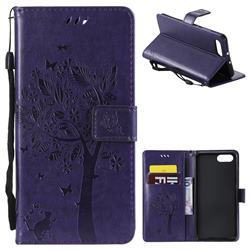 Embossing Butterfly Tree Leather Wallet Case for Huawei Honor View 10 (V10) - Purple
