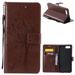 Embossing Butterfly Tree Leather Wallet Case for Huawei Honor View 10 (V10) - Brown