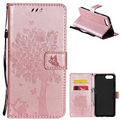 Embossing Butterfly Tree Leather Wallet Case for Huawei Honor View 10 (V10) - Rose Pink