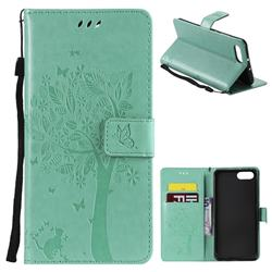 Embossing Butterfly Tree Leather Wallet Case for Huawei Honor View 10 (V10) - Cyan