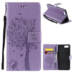Embossing Butterfly Tree Leather Wallet Case for Huawei Honor View 10 (V10) - Violet