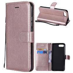 Retro Greek Classic Smooth PU Leather Wallet Phone Case for Huawei Honor View 10 (V10) - Rose Gold