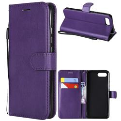 Retro Greek Classic Smooth PU Leather Wallet Phone Case for Huawei Honor View 10 (V10) - Purple