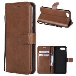 Retro Greek Classic Smooth PU Leather Wallet Phone Case for Huawei Honor View 10 (V10) - Brown