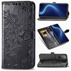 Embossing Imprint Mandala Flower Leather Wallet Case for Huawei Honor X10 5G - Black