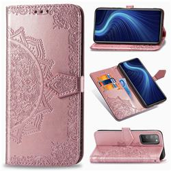 Embossing Imprint Mandala Flower Leather Wallet Case for Huawei Honor X10 5G - Rose Gold