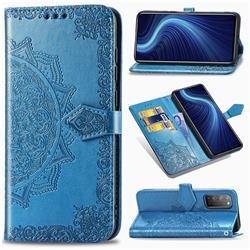 Embossing Imprint Mandala Flower Leather Wallet Case for Huawei Honor X10 5G - Blue