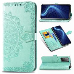 Embossing Imprint Mandala Flower Leather Wallet Case for Huawei Honor X10 5G - Green