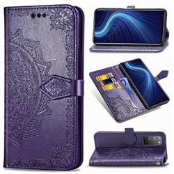 Embossing Imprint Mandala Flower Leather Wallet Case for Huawei Honor X10 5G - Purple