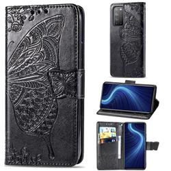 Embossing Mandala Flower Butterfly Leather Wallet Case for Huawei Honor X10 5G - Black