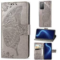 Embossing Mandala Flower Butterfly Leather Wallet Case for Huawei Honor X10 5G - Gray