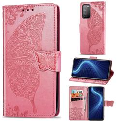 Embossing Mandala Flower Butterfly Leather Wallet Case for Huawei Honor X10 5G - Pink