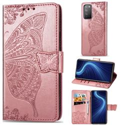 Embossing Mandala Flower Butterfly Leather Wallet Case for Huawei Honor X10 5G - Rose Gold