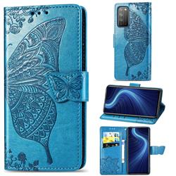 Embossing Mandala Flower Butterfly Leather Wallet Case for Huawei Honor X10 5G - Blue