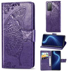 Embossing Mandala Flower Butterfly Leather Wallet Case for Huawei Honor X10 5G - Dark Purple