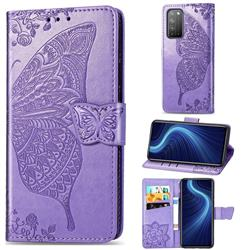 Embossing Mandala Flower Butterfly Leather Wallet Case for Huawei Honor X10 5G - Light Purple