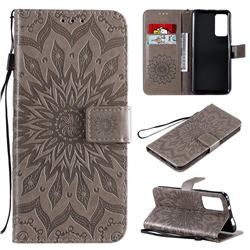Embossing Sunflower Leather Wallet Case for Huawei Honor X10 5G - Gray
