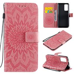 Embossing Sunflower Leather Wallet Case for Huawei Honor X10 5G - Pink