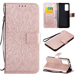 Embossing Sunflower Leather Wallet Case for Huawei Honor X10 5G - Rose Gold