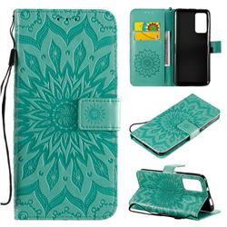 Embossing Sunflower Leather Wallet Case for Huawei Honor X10 5G - Green