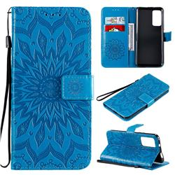 Embossing Sunflower Leather Wallet Case for Huawei Honor X10 5G - Blue