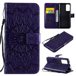 Embossing Sunflower Leather Wallet Case for Huawei Honor X10 5G - Purple