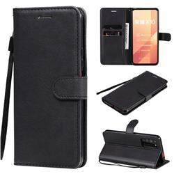 Retro Greek Classic Smooth PU Leather Wallet Phone Case for Huawei Honor X10 5G - Black