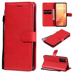 Retro Greek Classic Smooth PU Leather Wallet Phone Case for Huawei Honor X10 5G - Red