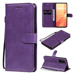 Retro Greek Classic Smooth PU Leather Wallet Phone Case for Huawei Honor X10 5G - Purple