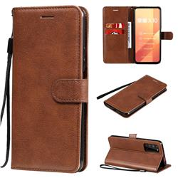Retro Greek Classic Smooth PU Leather Wallet Phone Case for Huawei Honor X10 5G - Brown
