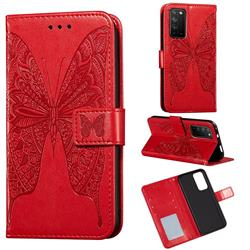 Intricate Embossing Vivid Butterfly Leather Wallet Case for Huawei Honor X10 5G - Red